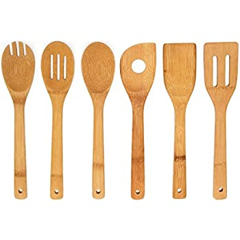 Premium Kitchen Cooking Utensils Bamboo Spoon Spatula, 6 Set Of Bamboo  Kitchen Tools.
