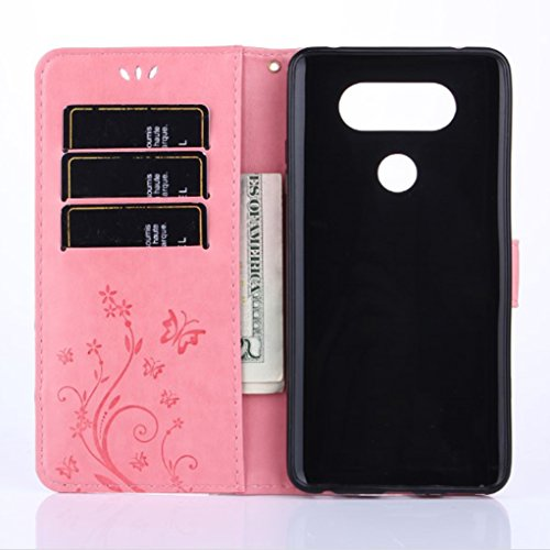 Trumpshop Smartphone Carcasa Funda protección para LG V20 + Gris + PU Cuero Caja Protector Billetera con la Ranura la Tarjeta Choque Absorción Rosado