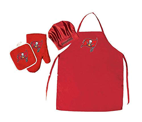 Pro Specialties Group NFL Tampa Bay Buccaneers Team Logo Barbeque Apron, Chef's Hat and Pot Holder Deluxe Set