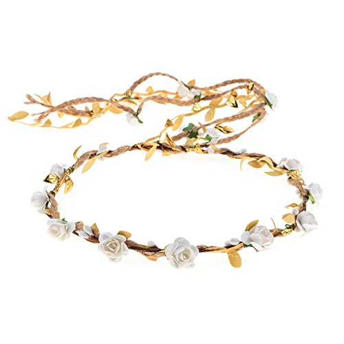 DDazzling Flower Crown Floral Wreath Headband Floral Garland Headbands photo props (Ivory and Gold)