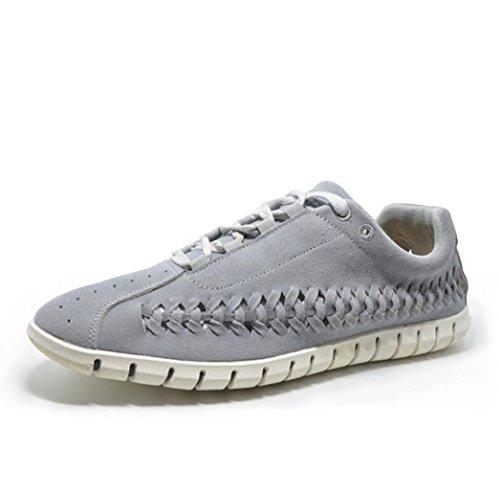 Heart&M hueco ocasionales de los hombres knit suede zapatos de cordones de cuero de cuello redondo gray