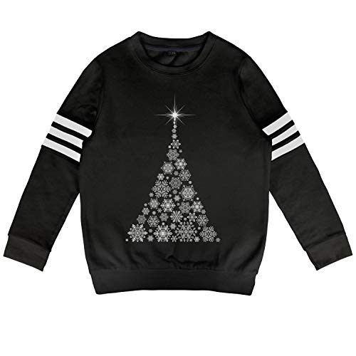 Hyduns Toddler Boys Girls Sparkling Snowflake Christmas Tree Crewneck Long Sleeve Pullover Sweatshirts