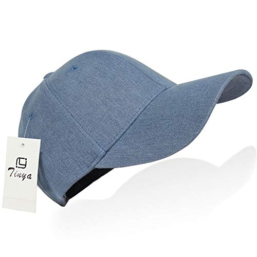Cotton Tennis Cap - Tinya Baseball Cap Men Women: Solid Plain Adjustable Sports 100% Cotton Long Brim Strap Buckle Structured Fit for Youth Boys Ponytail Ladies Big Dad Head Large Tennis Golf Ball Hat (Medium Denim)