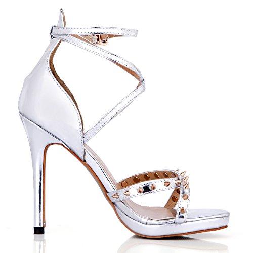 De Remaches Noche Verano Silver Zapato Shoes Sandalias Mujer Anuales Plata High heel Los Reuniones Del Banda Nueva qpFxpU8Cwt