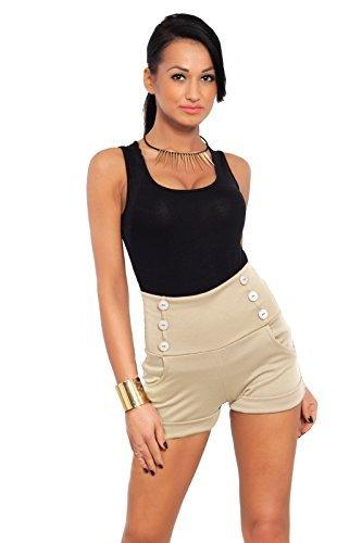 FUTURO FASHION Estate a Vita Alta Sofisticato Trendy Shorts con Tasche e Bottoni Size 8-18 UK PA08 Beige
