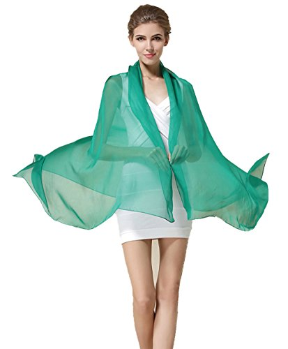 Grace Scarves 100% Silk Scarf, Oblong, Chiffon, Solid Color, Green