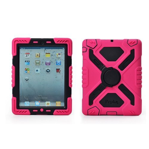 Ipad 5 / Ipad Air Case Silicone Plastic Kid Proof Extreme Duty Dual Protective Back Cover with Kickstand and Sticker for Ipad 5 / Ipad Air - Rainproof Sandproof Dust-proof Shockproof(Red/Black)