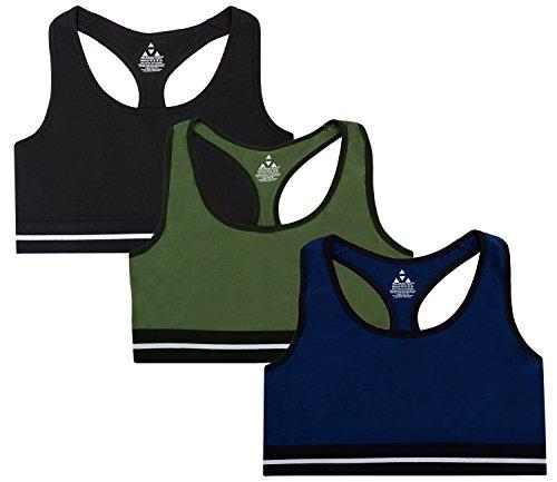 Balanced Tech Women's Cotton Racerback Sports Bra 3 Pack - Army/Black/Navy - X-Large