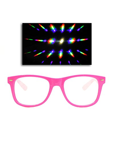 Emazing Lights Premium Diffraction Prism Rave Glasses (Neon Pink, Clear - Eyewear Rave