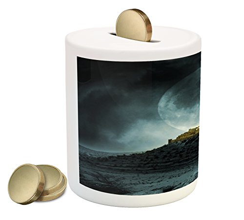 Night Sky Piggy Bank By Ambesonne  Big Full Moon Over A Fantasy Castle On Hill Clouds Rocks Valley View  Printed Ceramic Coin Bank Money Box For Cash Saving  Green Black Slate Blue