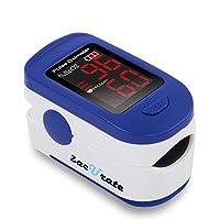 Monitor de saturación de oxígeno en sangre con oxímetro de pulso con punta de dedo Zacurate 500BL con baterías y cordón incluido (azul marino)