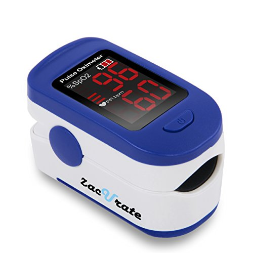 Zacurate 500BL Fingertip Pulse Oximeter Blood Oxygen Saturation Monitor with Batteries and Lanyard Included (Navy Blue) (Pulse Rate Monitor)