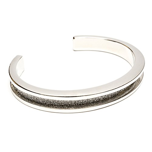 Hair Tie Bracelet - Glitz by Maria Shireen - Steel Silver With Glitter Channel - Medium by Maria Shireen