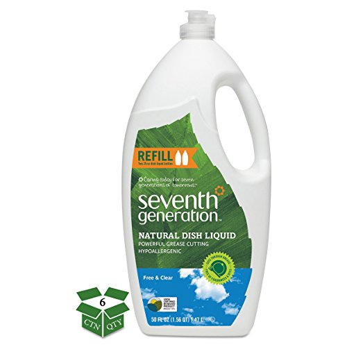 Clear Liquid Dishwashing Natural - Seventh Generation 22724 Natural Dishwashing Liquid, Free & Clear, Jumbo 50 oz Bottle (Case of 6)