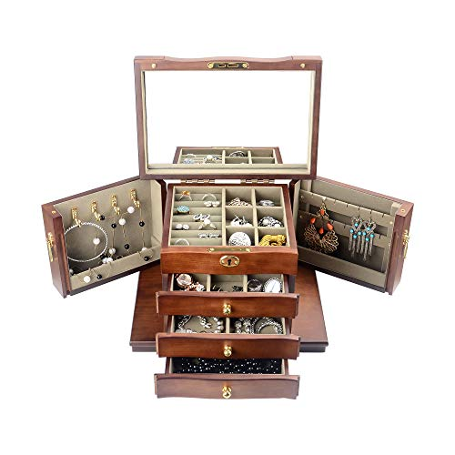 Kendal Hardwood Large Wooden Jewelry Box Organizer with Mirror and Lock WJC03HT ()