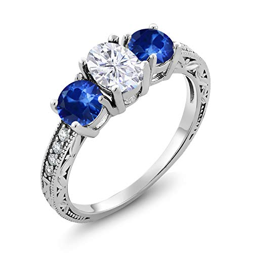 925 Sterling Silver 3-Stone Ring Forever Brilliant (GHI) Oval 0.90ct (DEW) Created Moissanite by Charles & Colvard and Sapphire (Size 6)