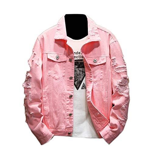 Uomo Rosa Strappato Il Outwear Semplice Da Attentatore Fori Cappotto Più Formato Giacche qTC5ncS1xT