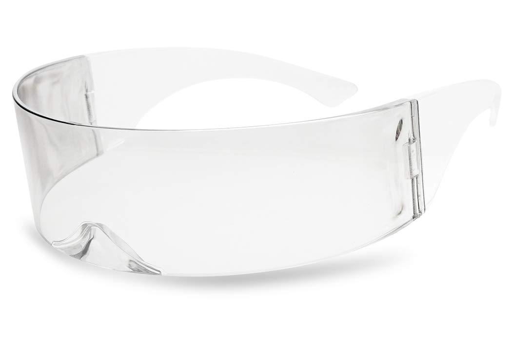 SunglassUP - One Piece Futuristic Wrap Around Novelty Cyclops Robocop Sunglasses (Clear)