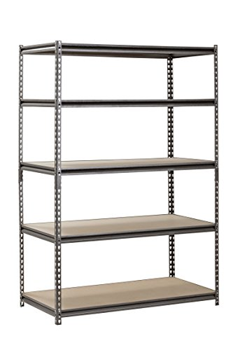 (Muscle Rack UR482472PB5PAZ-SV Silver Vein Steel Storage Rack, 5 Adjustable Shelves, 4000 lb. Capacity, 72