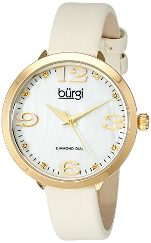 Burgi Women's BUR119YG Quartz Movement Watch with White/White Mother of Pearl Dial and White/Cream Leather Bracelet (Mother Of Pearl Womans Watch)