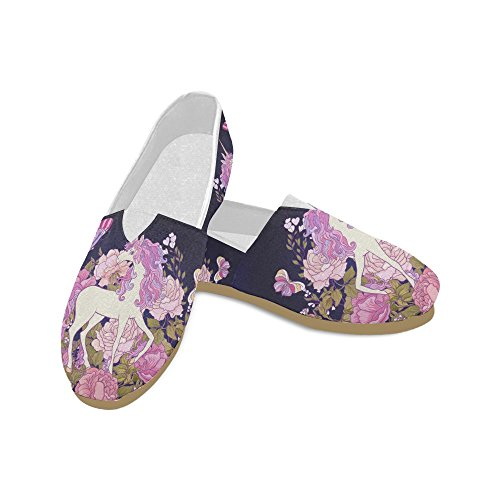 D-Story Fashion Sneakers Flats Unicorn Women's Classic Slip-on Canvas Shoes Loafers -