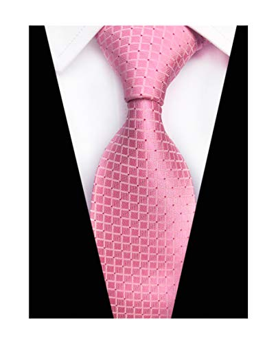 (Elfeves Men Modern Tartan Formal Ties Checks Plaid Gingham Pattern Woven Necktie (One Size, Pink))