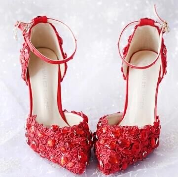 Sandals VIVIOO Red Wedding Dress High Word Heel Red 6 Bridal 9 Fine Lace Shoes Diamond Female Cm Shoes Shoes With Sandals Prom Pointed p5wOrqp