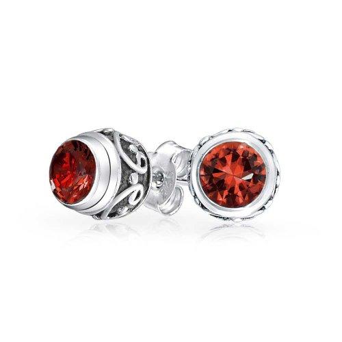 Bling Jewelry Boucles d'oreille rondes en Garnet Aet fermoir à clou
