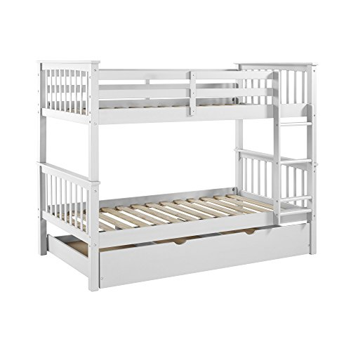 WE Furniture Solid Wood Twin Bunk Bed with Trundle Bed - Whi