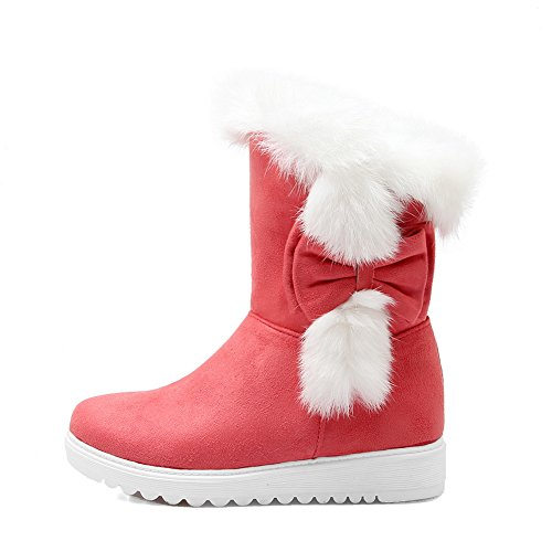 Ladies Gold Ornament Boots Platform Red Fur Spun Frosted 1TO9 Bowknot F1Afq
