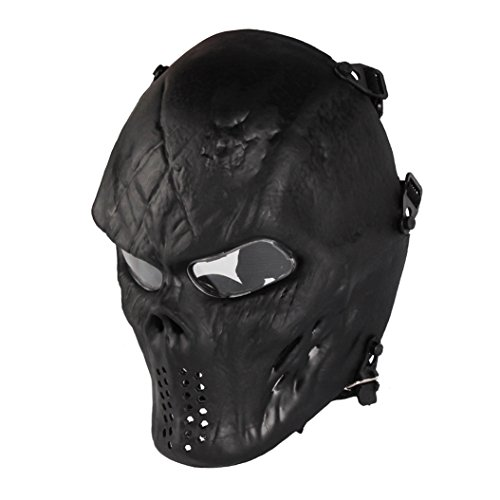 Skull Skeleton Full Face Airsoft Mask Clear Lens Army Fans Supplies M06 Tactical Mask Halloween BB Paintball Gun CS Game Cosplay Masquerade Party Black