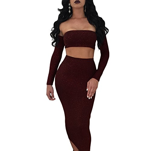 Longwu Women's Sexy Sparkly Bandage Off Shoulder 2 Pieces Dress Shining Backless Tube Top + Midi Skirt