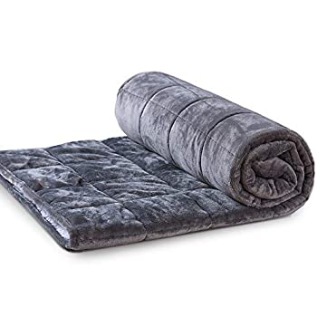 Image of LOCHAS Warm Weighted Blanket for Adults, 15 lbs 48''x72'' Heavy Blankets Sherpa Fleece Throw Blanket Twin Size for Individual Between 140-180 lbs, Grey LOCHAS B07YY1N3FC Weighted Blankets