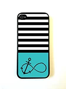 Anchored-Forever Black Stripes & Teal Black iPhone 5 Case - For iPhone 5/5G - Designer PC Case Verizon AT&T Sprint