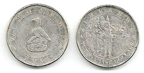 ZW 2003 Set Of Eight (8) Zimbabwe 25 Dollars Circulated Coins KM 15 Circulated