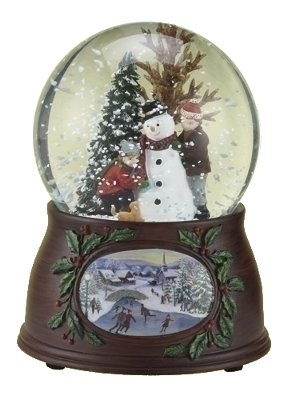 5'' 100mm Kids/Snowman Dome W/Wood Look Base Plays Winter Wonderland by Roman
