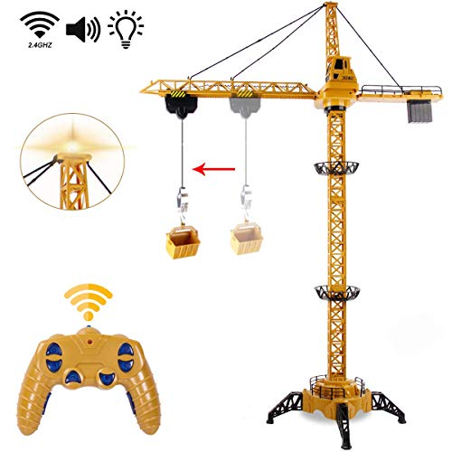Liberty Imports 6 Channel RC Mega Tower Crane, 50.4 inch Tall 2.4GHz Remote Control Construction Site Toy 680° Rotation Lift Model with Tower Lights and Sounds