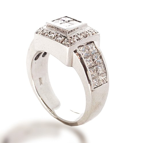 1.76 CTW PAVE-INVISIBLE SETTING DIAMOND FASHION RIGHT HAND RING 18K WHITE -