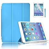 New iPad Air (iPad 5) with Retina Display Premium Quality Case Cover in with Front & Back Protection Smart Cover With Magnetic Auto Wake & Sleep Function - Full Grade Leather (PU) with Smooth Satin Inner Cloth with Screen Protector (Blue)