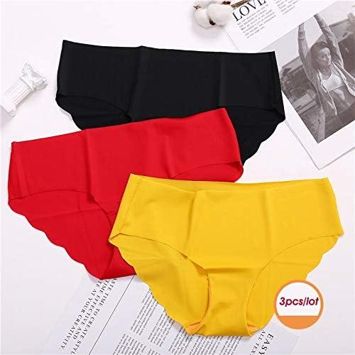Zhichuang 3枚/ロットシームレスパンティーセット下着女性の快適インナーファッション女性ブリーフ6色ランジェリードロップ送料をLowが上昇します (色 : Black Red Yellow, サイズ : 3PCS)