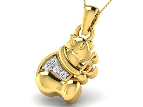 Or Jaune 18 ct Pendentifs Diamant en forme de Ours jouant de la musique, 0.02 Ct Diamant, GH-SI, 0.58 grammes.