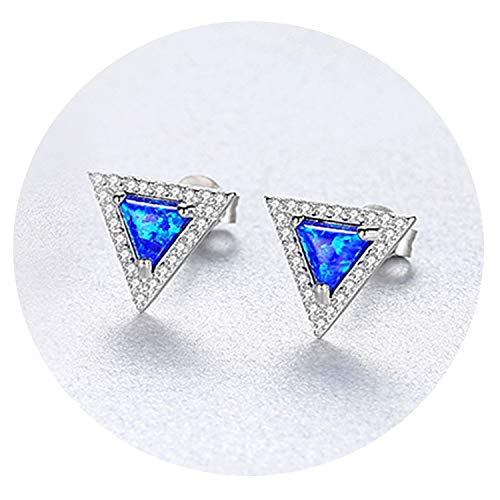 Ashley-OU Created Triangle Fire Opal Stud Earrings 925 Sterling Silver Fine Jewelry SE0423,Blue (Venetian Glass 14k Gold Blue)