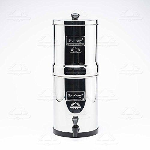 Travel Berkey Water Filter System 1.5 Gallon with 2 Black Berkey Purifiers and 2 Fluoride Filters and Scrub Pad by Berkey