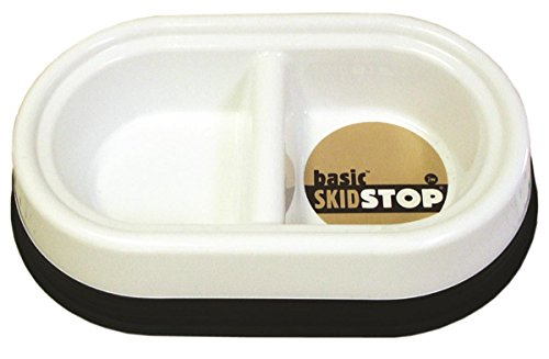 JW Pet Company Skid-Stop Basic Double Diner for Pets, Large, Colors Vary (Stop Double Diners Pets)