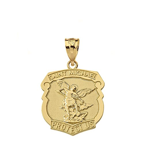- 14k Yellow Gold Saint Michael Protect Us Shield Shaped Medal Pendant