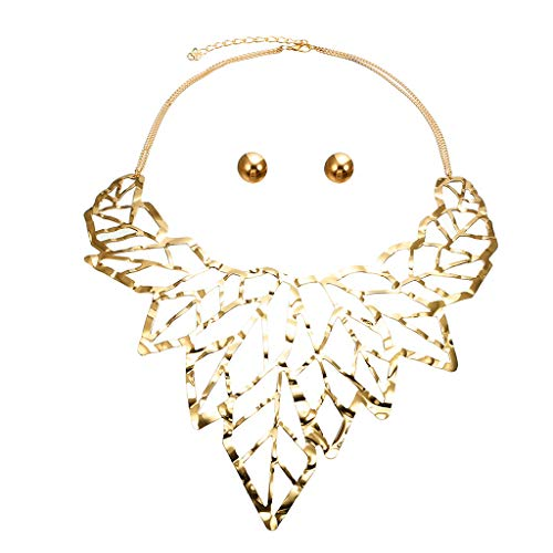 - Hmlai Women Necklace Personality Pendant Necklace Creative Hollow Leaf Necklace Earrings Jewelry