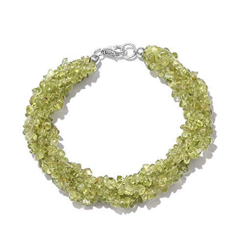 (5 Strand Twisted Bracelet Peridot Chips 925 Sterling Silver Platinum Plated Gift Jewelry for Women Size 7.25