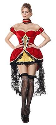 Luruiya Women's Plus Size Queen of Hearts Adult Costume