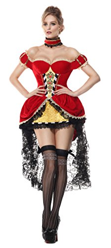 [Luruiya Women's Plus Size Queen of Hearts Adult Halloween Costume Red Large/X-Large] (Plus Size Queen Of Hearts)