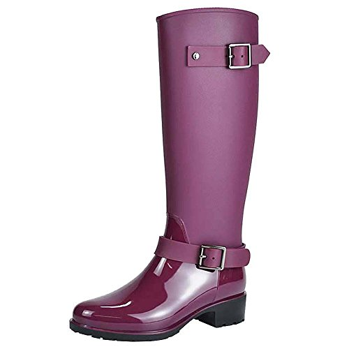 Jamron Women Stylish Snow Rain Festival Tall Wellies Adjustable Buckle Strap Knee High Zip Wellington Boots Purple SN02006 US7